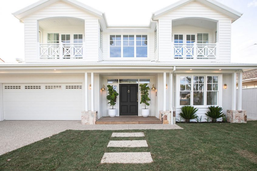 Aspendale luxury new home hamptons style white weatherboard double story